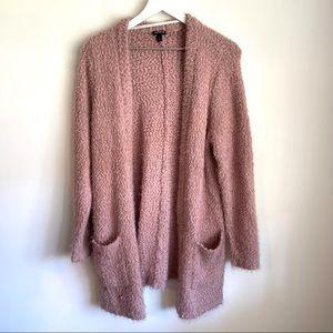 Torrid fuzzy blush pink cardigan size 1